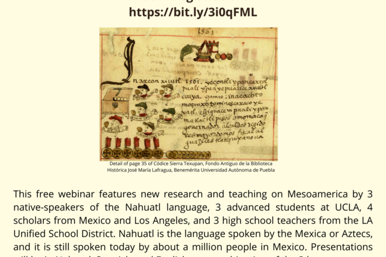 4th Nahuatl Conference beige poster with logos of the cosponsors