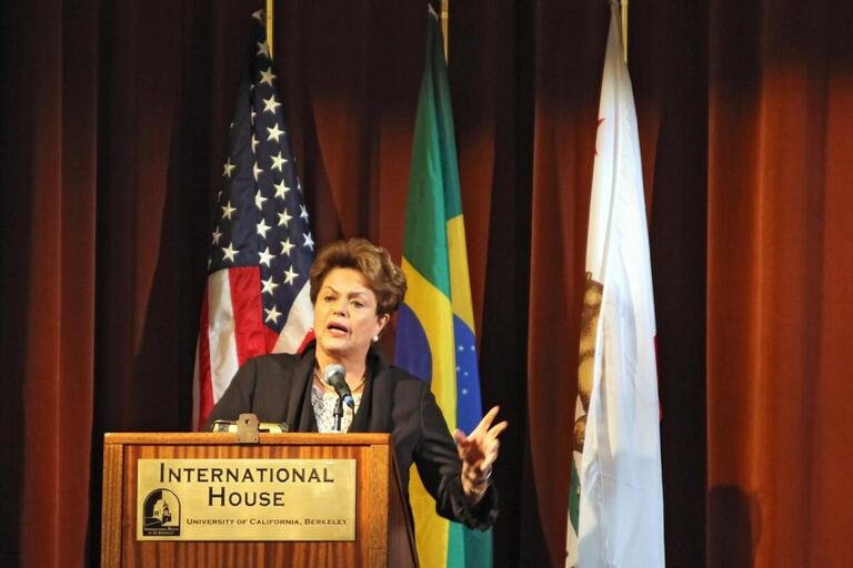 President Rousseff speaks.
