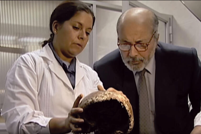 Judge Guzmán examines a victim's skull with forensic anthropologist Isabel Reveco. (From The Judge and the General. Image courtesy of West Wind Productions.)