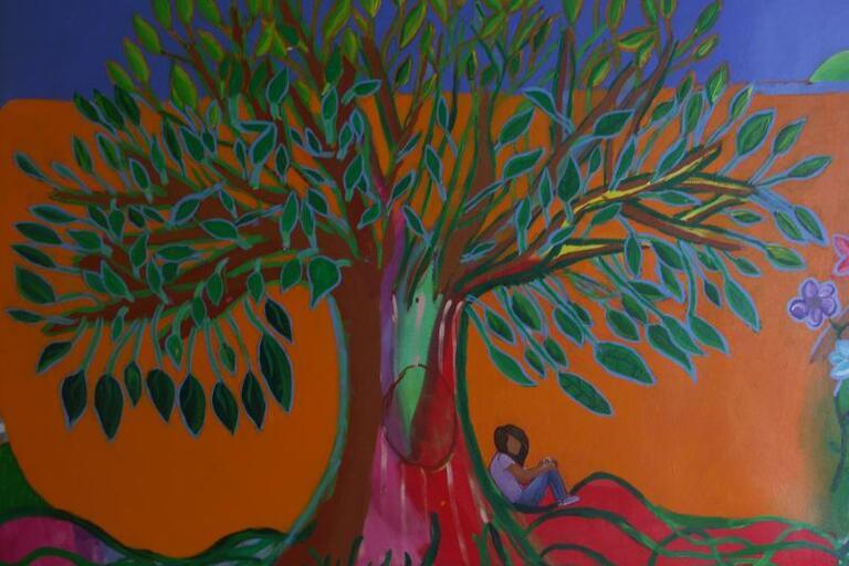 The Tree of Life, centerpiece of Bernardi's colorful mural