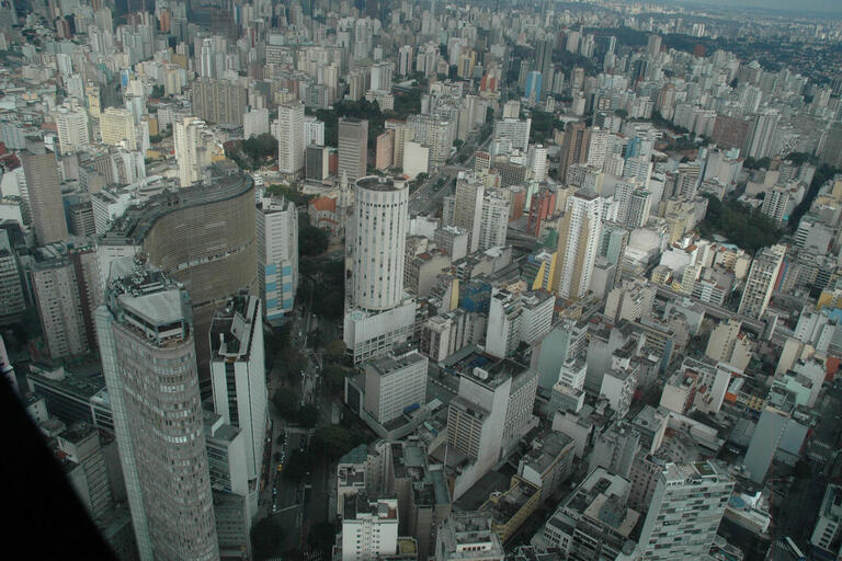 City scape of São Paulo, as seen from above