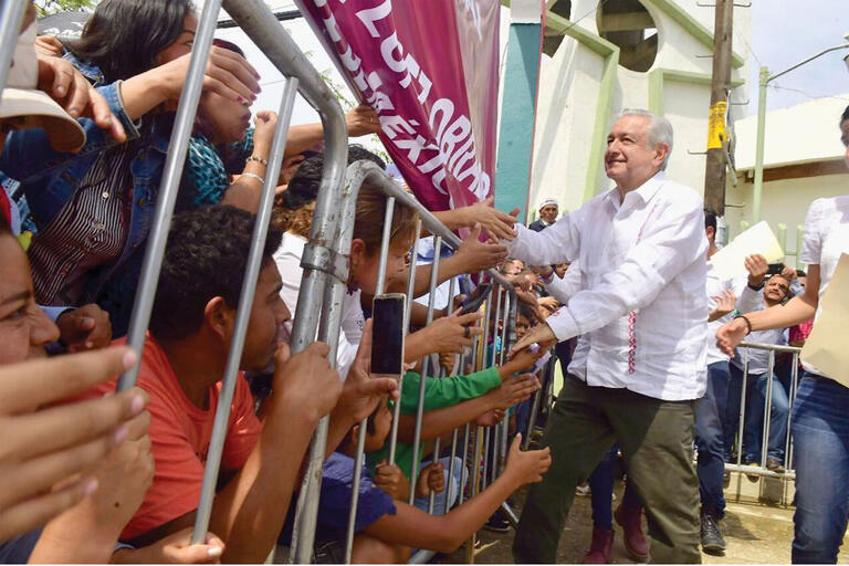 Andrés Manuel López Obrador, President of Mexico, greets supporters in August 2019.