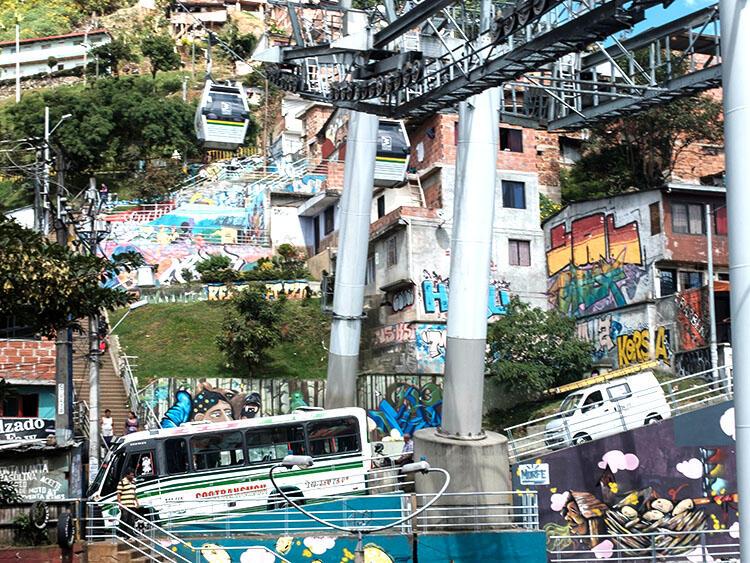 A complicated urban transportation illustration scene on a hillside in Medellín
