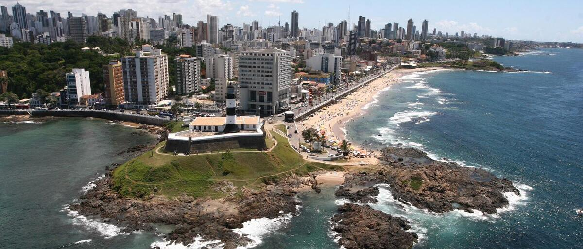 Buildings and beaches in Salvador da Bahia, Brazil