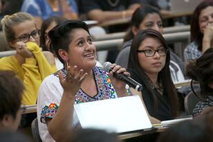 A student speaks in The Southern Border, a Berkeley course. (Photo by Jim Block.)