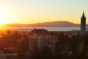 The Berkeley campus at sunset.