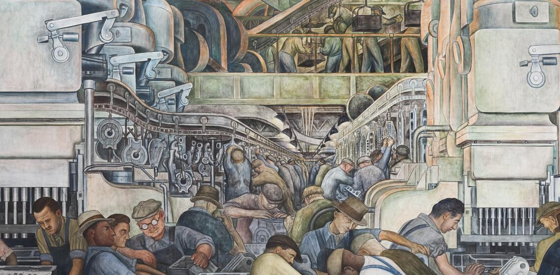 """Diego Rivera, """"Detroit Industry,"""" north wall detail, 1932-33, fresco. (Image courtesy of the Detroit Institute of Arts.)"""