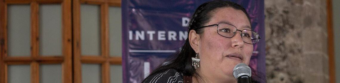 Yásnaya Elena Aguilar Gil speaks to an event. (Photo by Martin Herrera / Secretaría de Cultura Ciudad de México.)