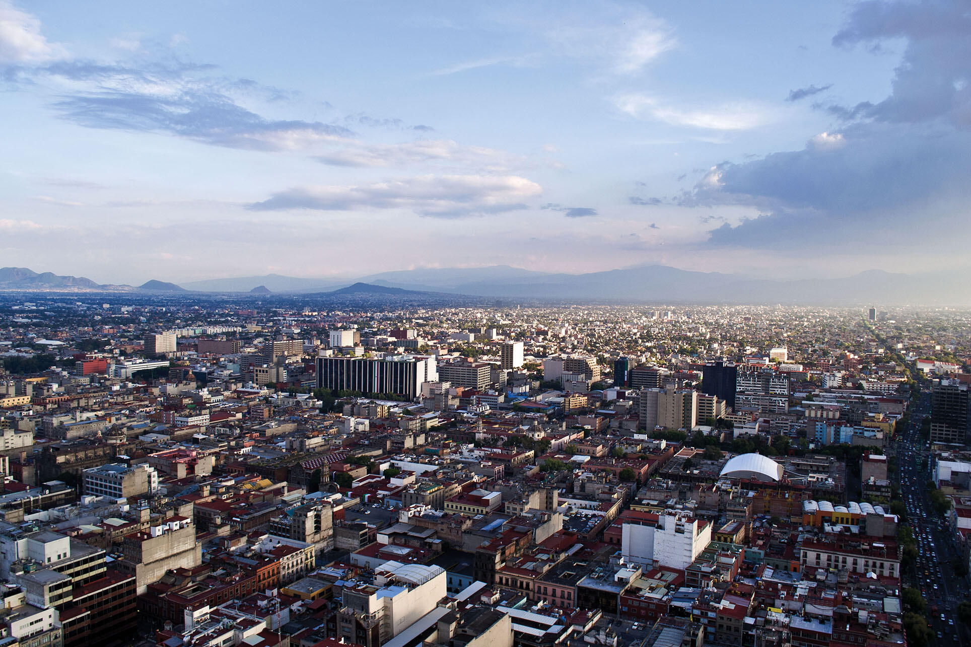 An aerial photo highlights the urban sprawl of Mexico City.  (Photo by Kasper Christensen.)
