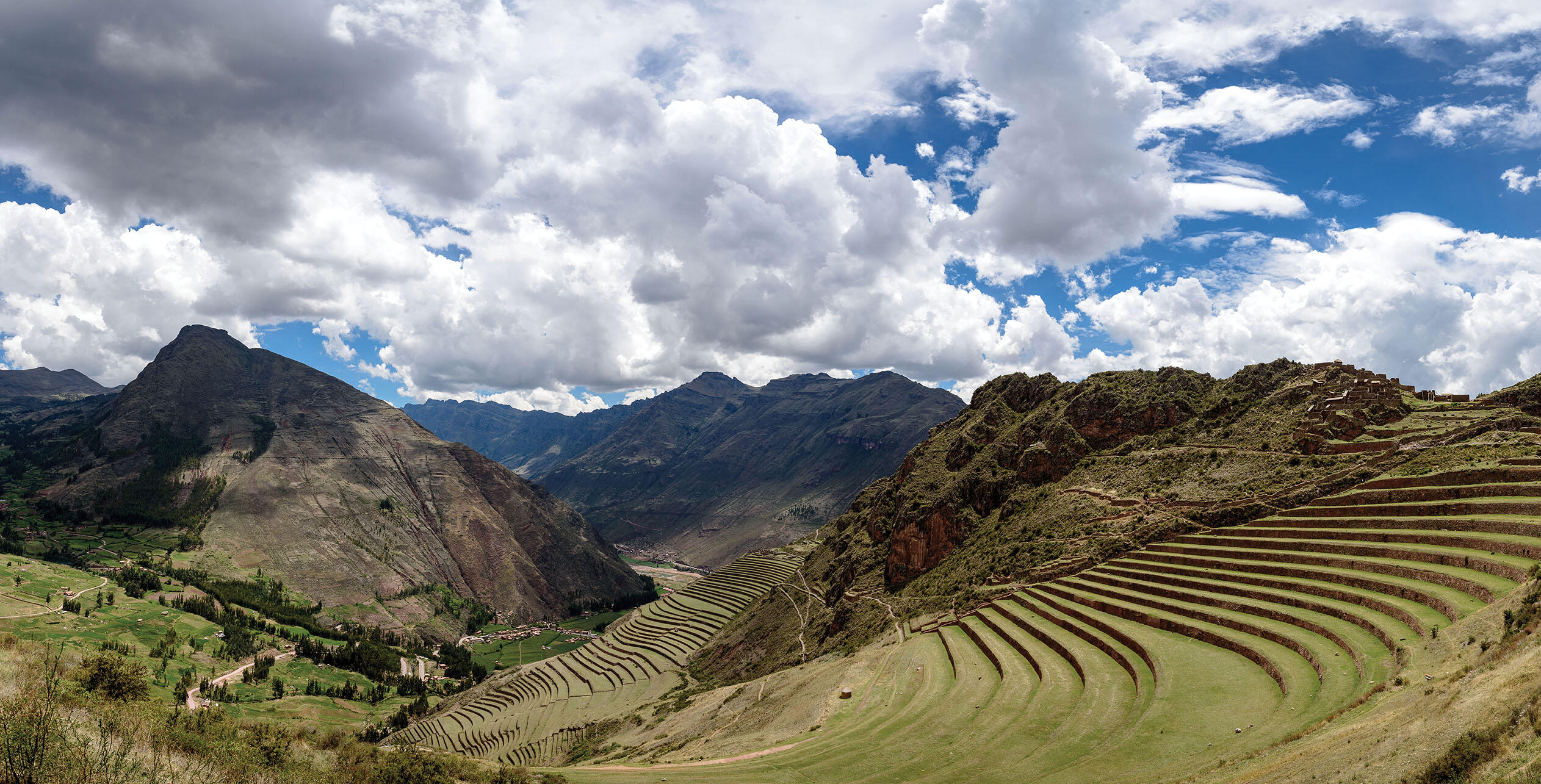 Aerial photo of terrace works in Pisac, Peru, which turned mountainsides into arable farmland. (Photo by MudflapDC.)
