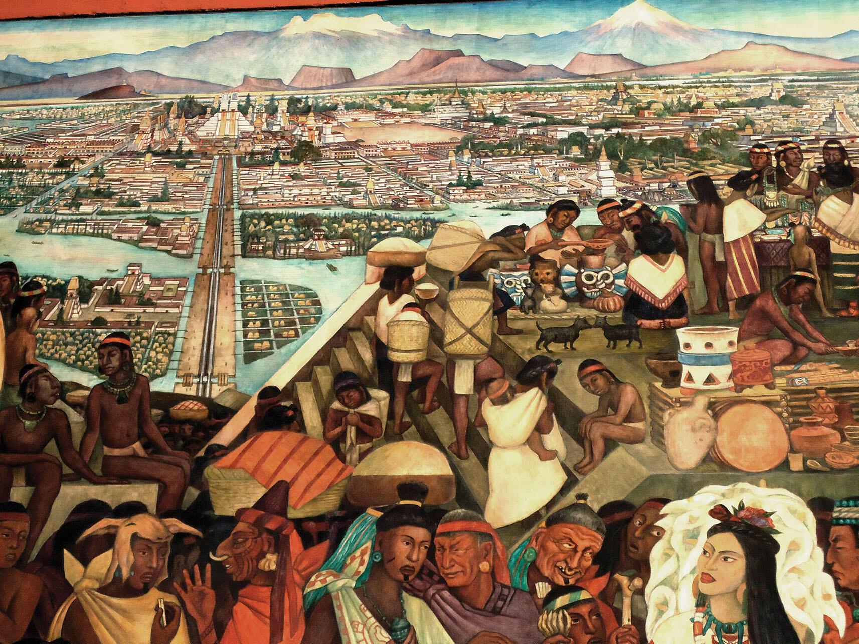 A photo showing detail of Diego Rivera's mural of Aztec city life at Mexico's Palacio Nacional. (Photo by kgv88/Wikimedia.)