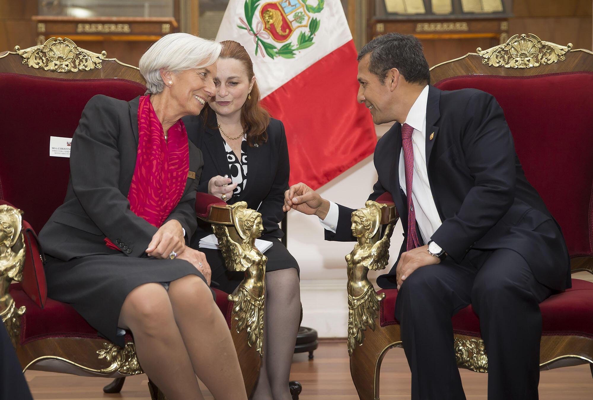 A photo of Peru's president Ollanta Humala meeting with the International Monetary Fund's Christine Lagarde in 2014. (Photo by Stephen Jaffe/IMF Staff.)