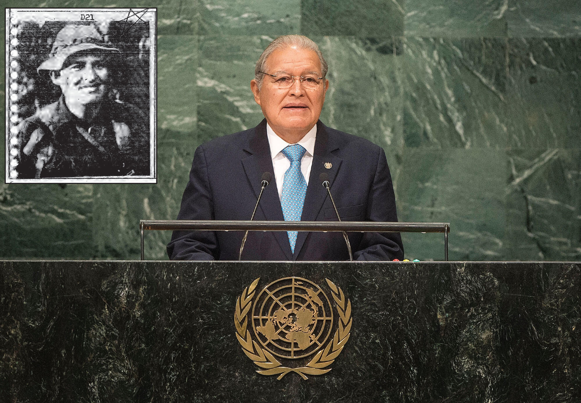 Two photos of Salvador Sánchez Cerén, as the current president of El Salvador speaking from the dais at the United Nations and (inset) in the Yellow Book. (Photo courtesy of Presidencia de El Salvador and inset courtesy of Angelina Snodgrass Godoy.)