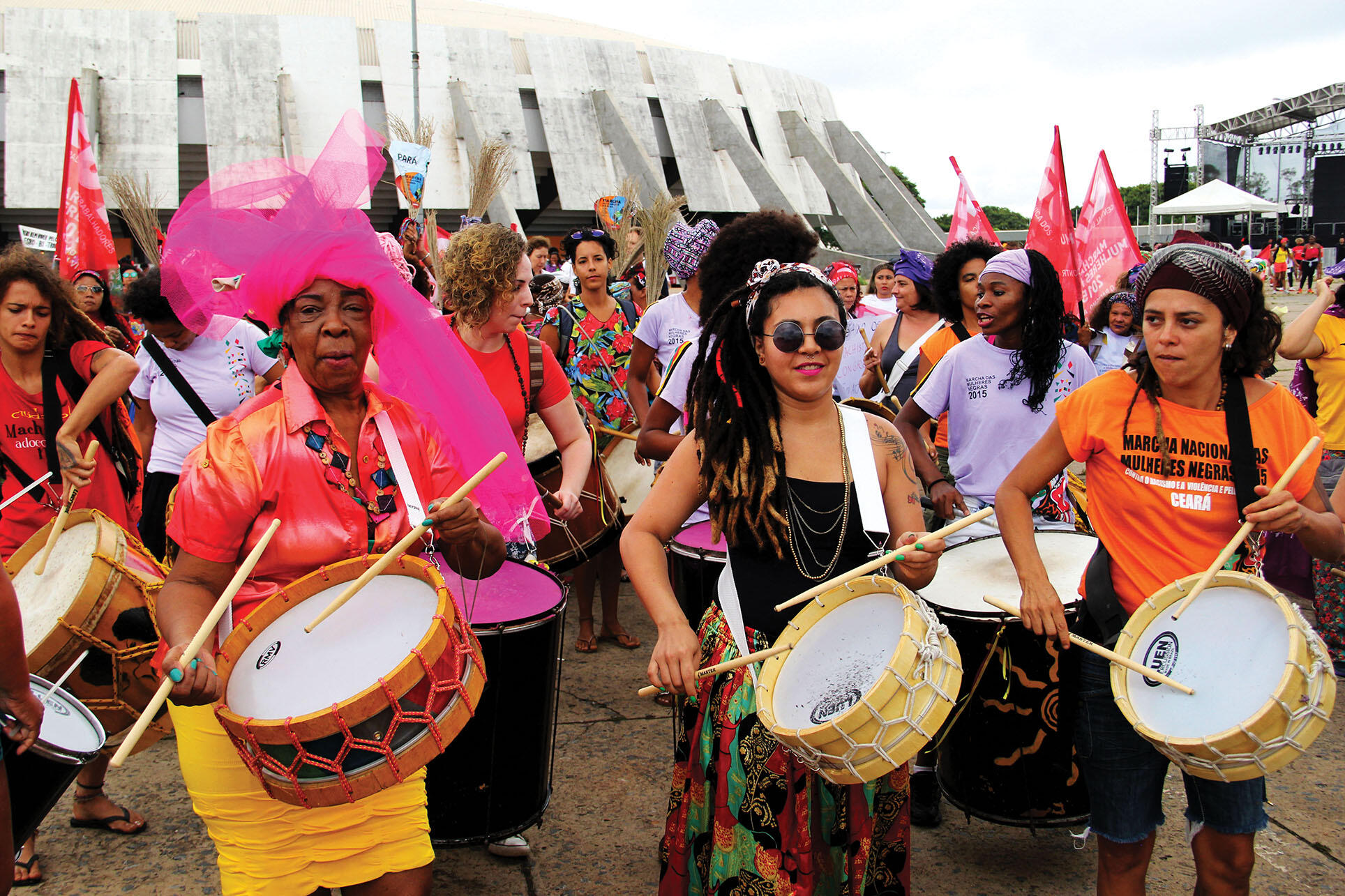 A group of colorfully dressed drummers in Brazil's National March of Black Women Against Racism, Violence, and for the Good Life, October 2015. (Photo courtesy of UN Women.)
