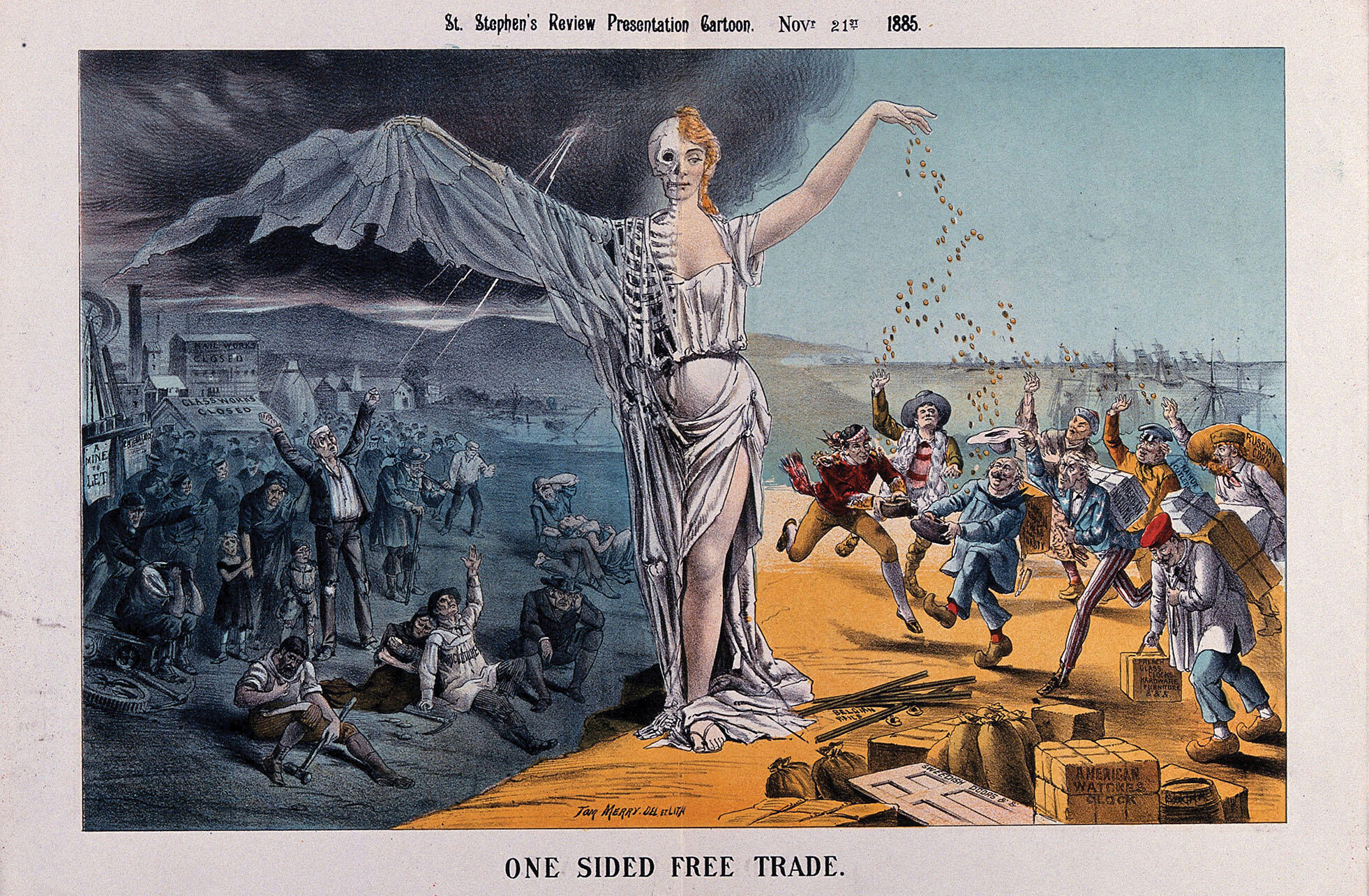A half-woman half-skeleton figure presides as jobless English workers suffer as merchants are made rich by free trade in this cartoon from 1885. (Image courtesy of the Wellcome Library/Wikimedia.)