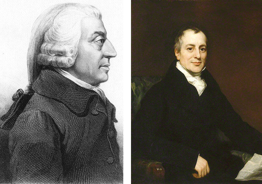 Portraits of economists Adam Smith (left) and David Ricardo. (Smith etching from medallion by James Tassie. Ricardo portrait by Thomas Philips. Both from Wikimedia.)
