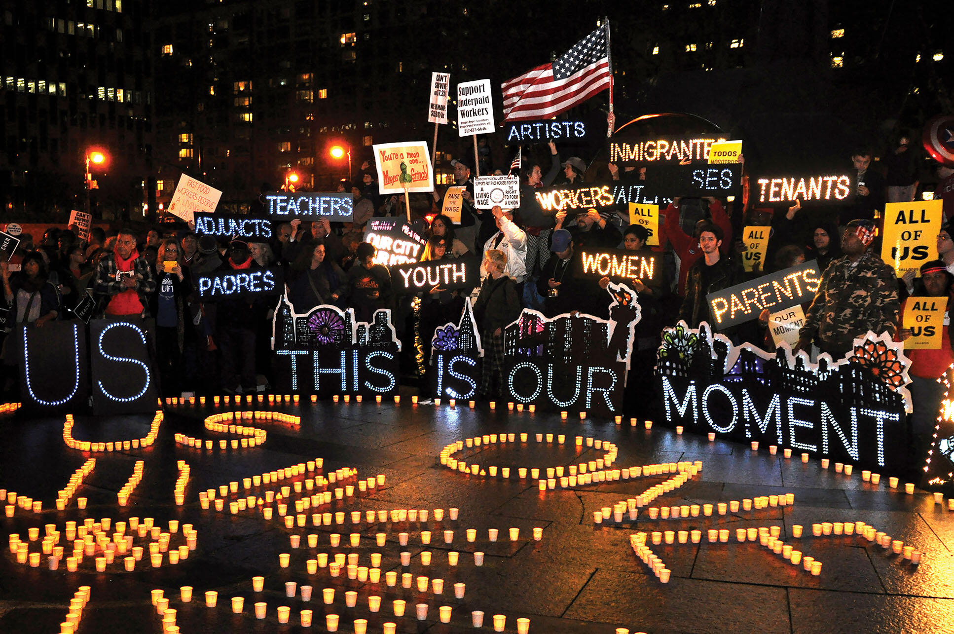 A candlelit 2014 rally in support of a liveable minimum wage. (Photo by Michael Fleshman.)