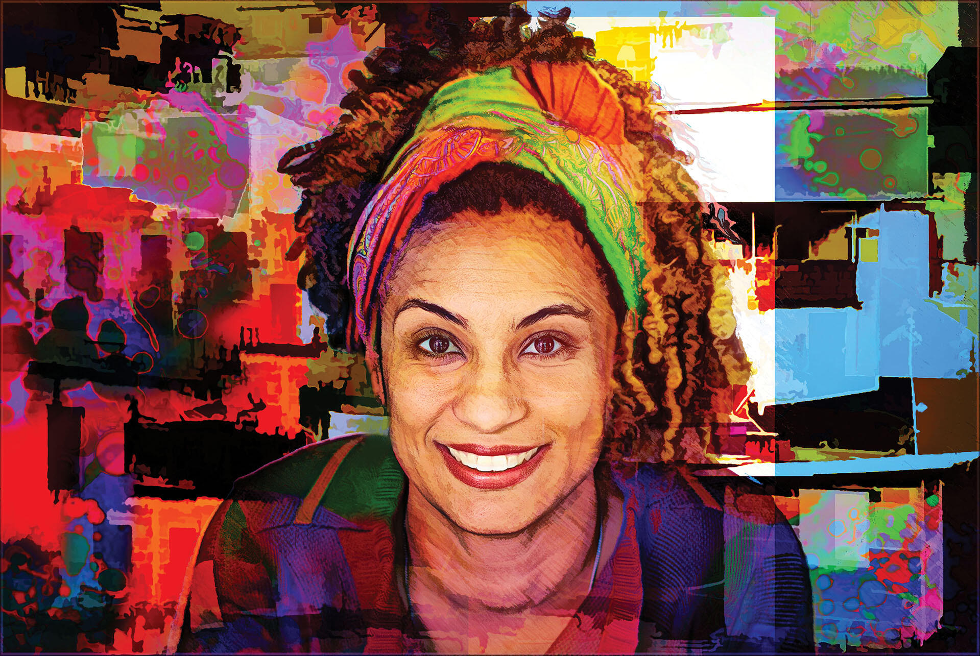 A tribute to slain activist and political leader Marielle Franco. (Art and image by Daniel Arrhakis.)