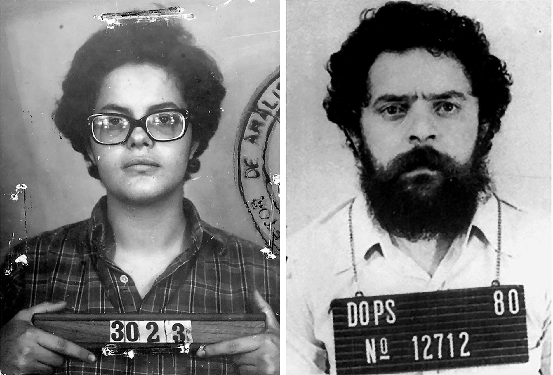 "Booking photos of Dilma Rousseff (1970) and Luiz Inácio ""Lula"" da Silva (1980), from their imprisonment during Brazil's dictatorship. (Photos courtesy of Elizabeth McKenna.)"