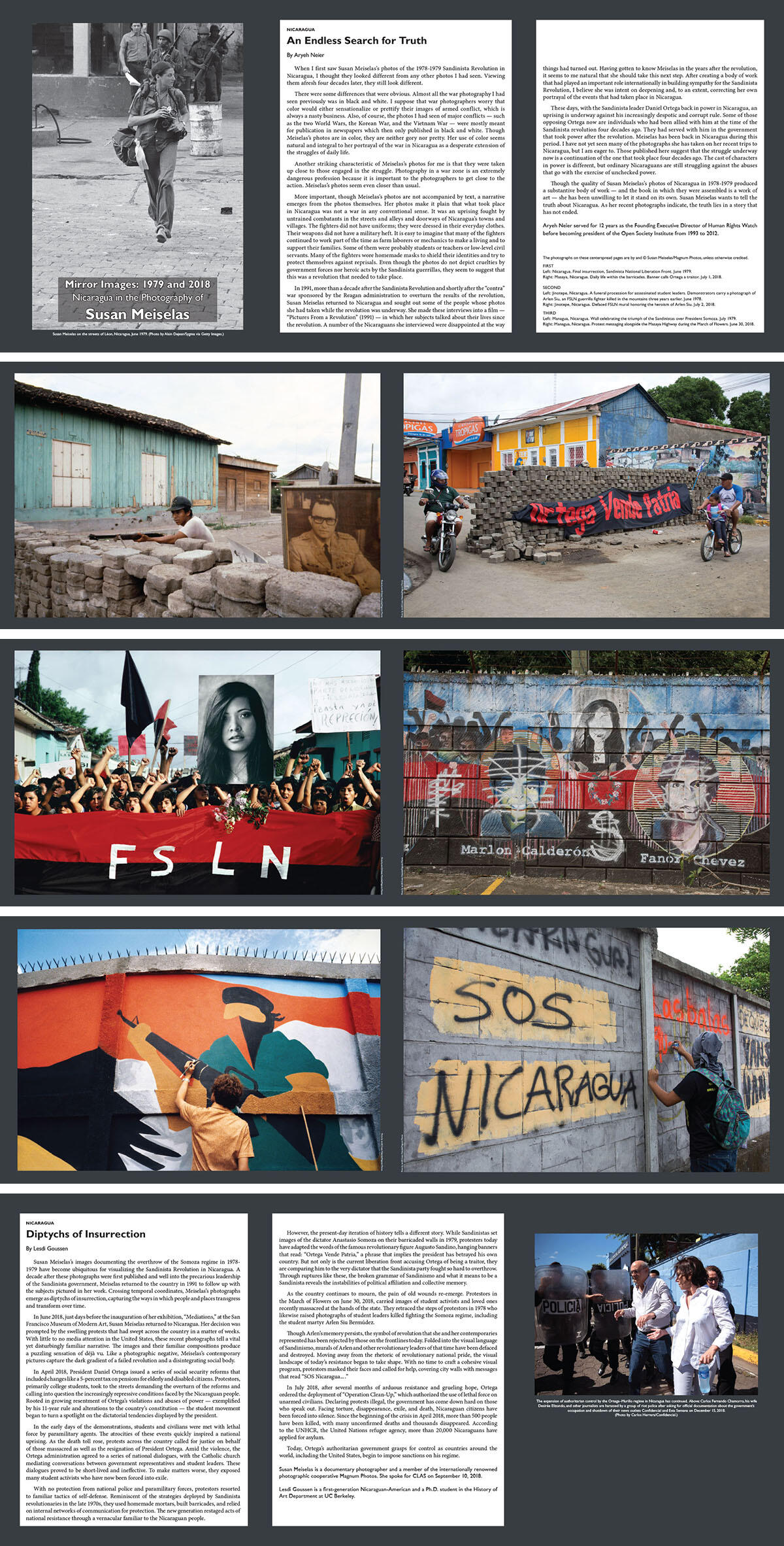 The complete section of Susan Meiselas photos and articles from the Fall 2018 Berkeley Review of Latin American Studies, featuring photos by Meiselas. (Photos by and © Susan Meiselas/Magnum Photos.)