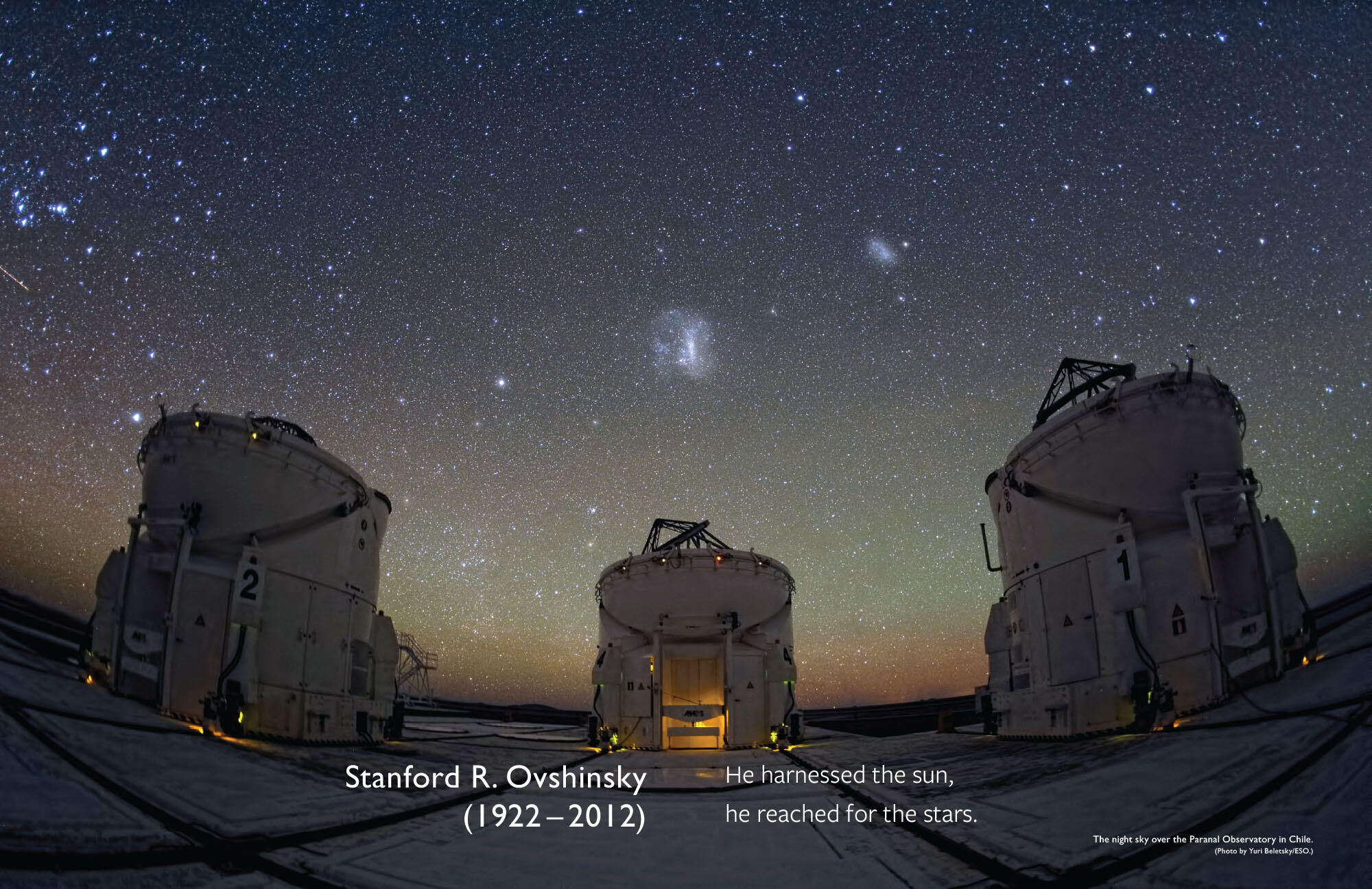 The night sky over the Paranal Observatory in Chile, with a memoriam for Stan Ovshinsky. (Photo by Yuri Beletsky/ESO.)