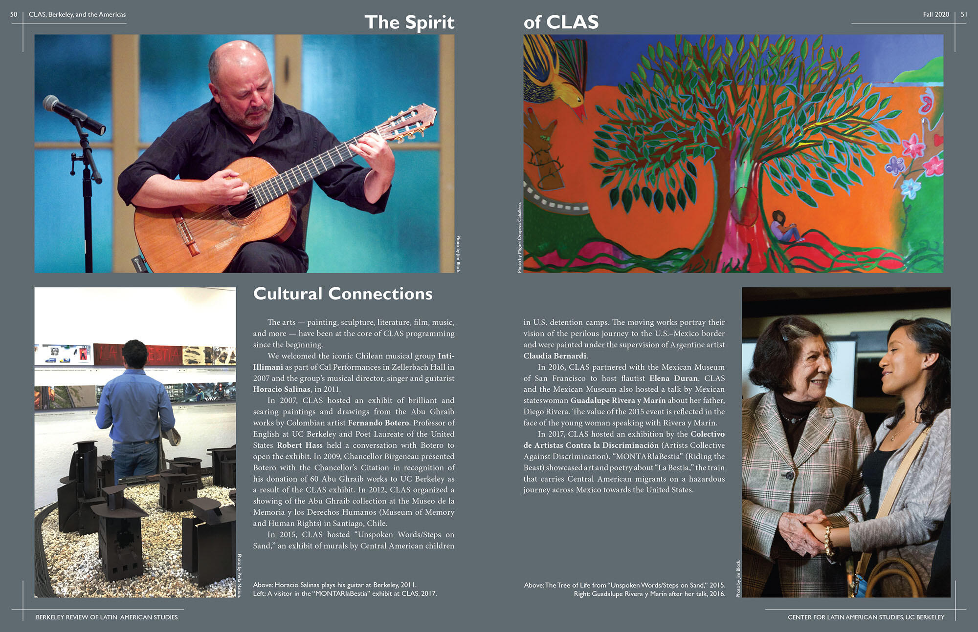 Two pages dedicated to cultural connections at CLAS, including Horacio Salinas, Guadelupe Rivera y Marin, connections with The Mexican Museum of San Francisco, and Claudia Bernardi. (Image from CLAS.)