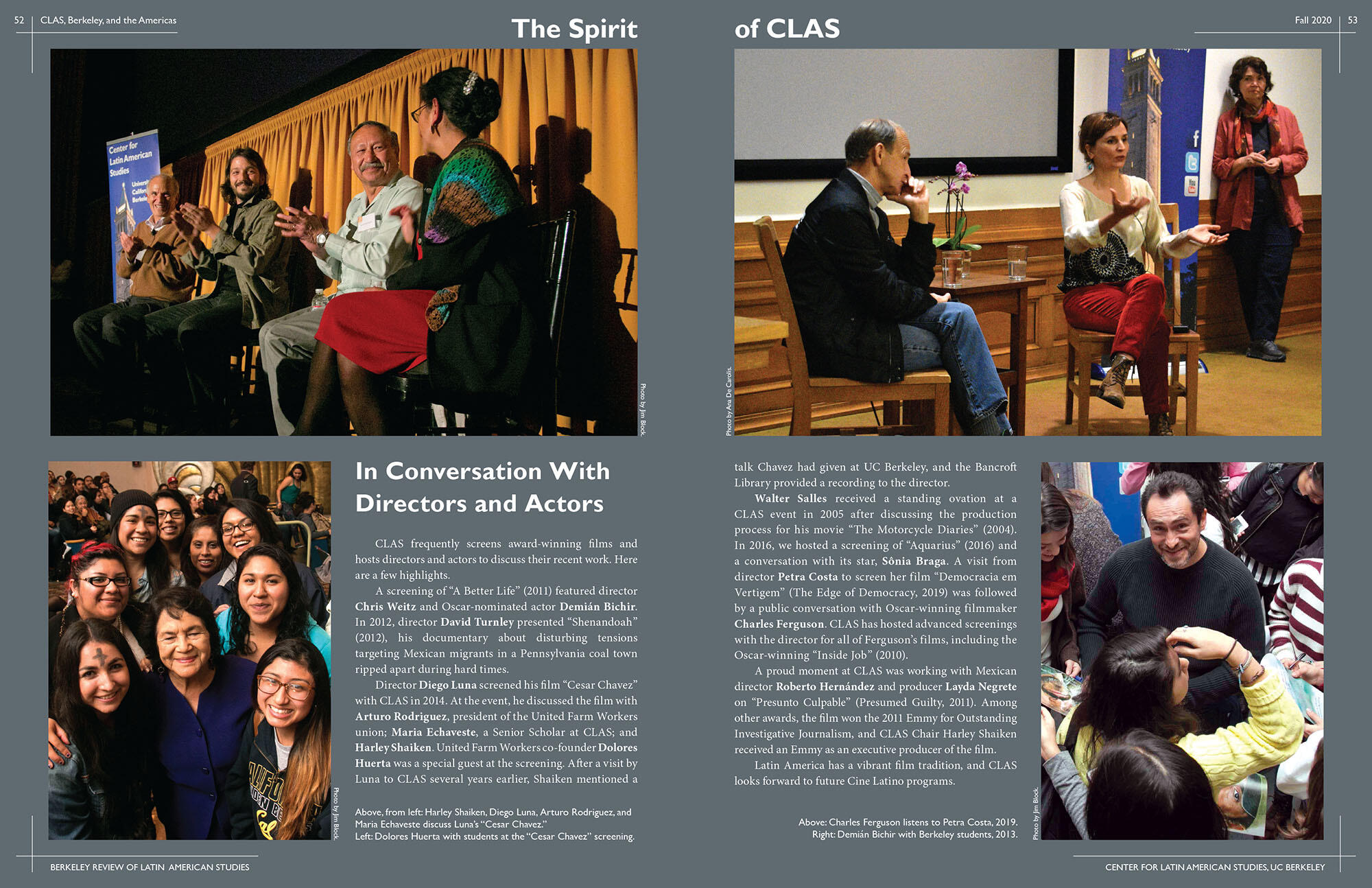Two pages dedicated to CLAS and film, including Charles Ferguson, Diego Luna (with Dolores Huerta at one of his screenings), Petra Costa, and Demián Bichir. (Image from CLAS.)