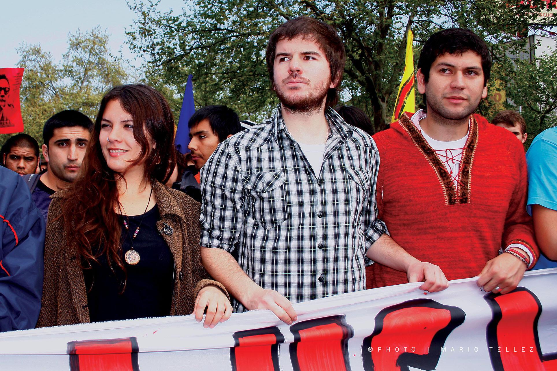 Camila Vallejo, Giorgio Jackson, and Camilo Ballesteros, September 2011. (Photo by Mario Tellez Cardemil.)