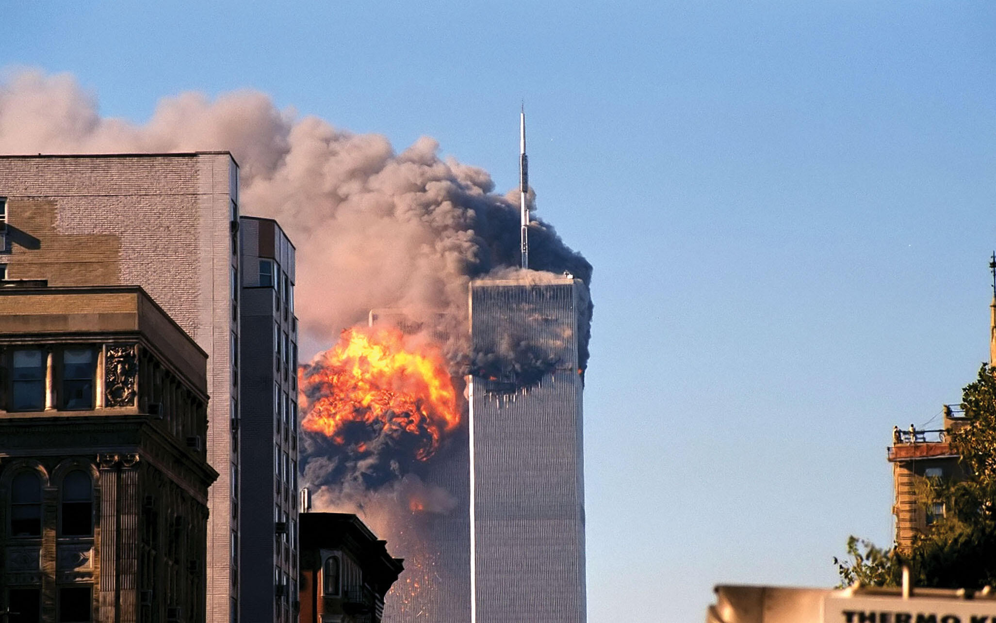 United Flight 175 hits the North Tower of the World Trade Center on September 11, 2001. (Photo by Robert J. Fisch.)