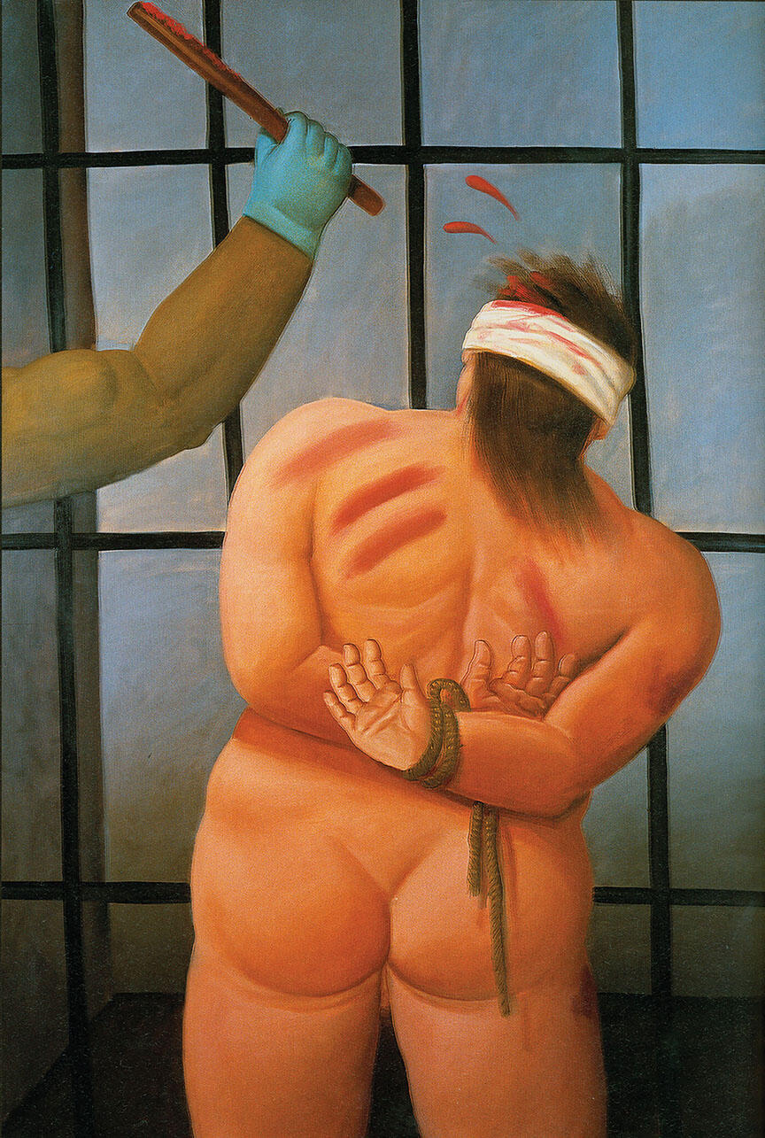 "Fernando Botero, ""Abu Ghraib 74,"" 2006. 175 x 117 cm, oil on canvas. (Image courtesy of Fernando Botero.)"