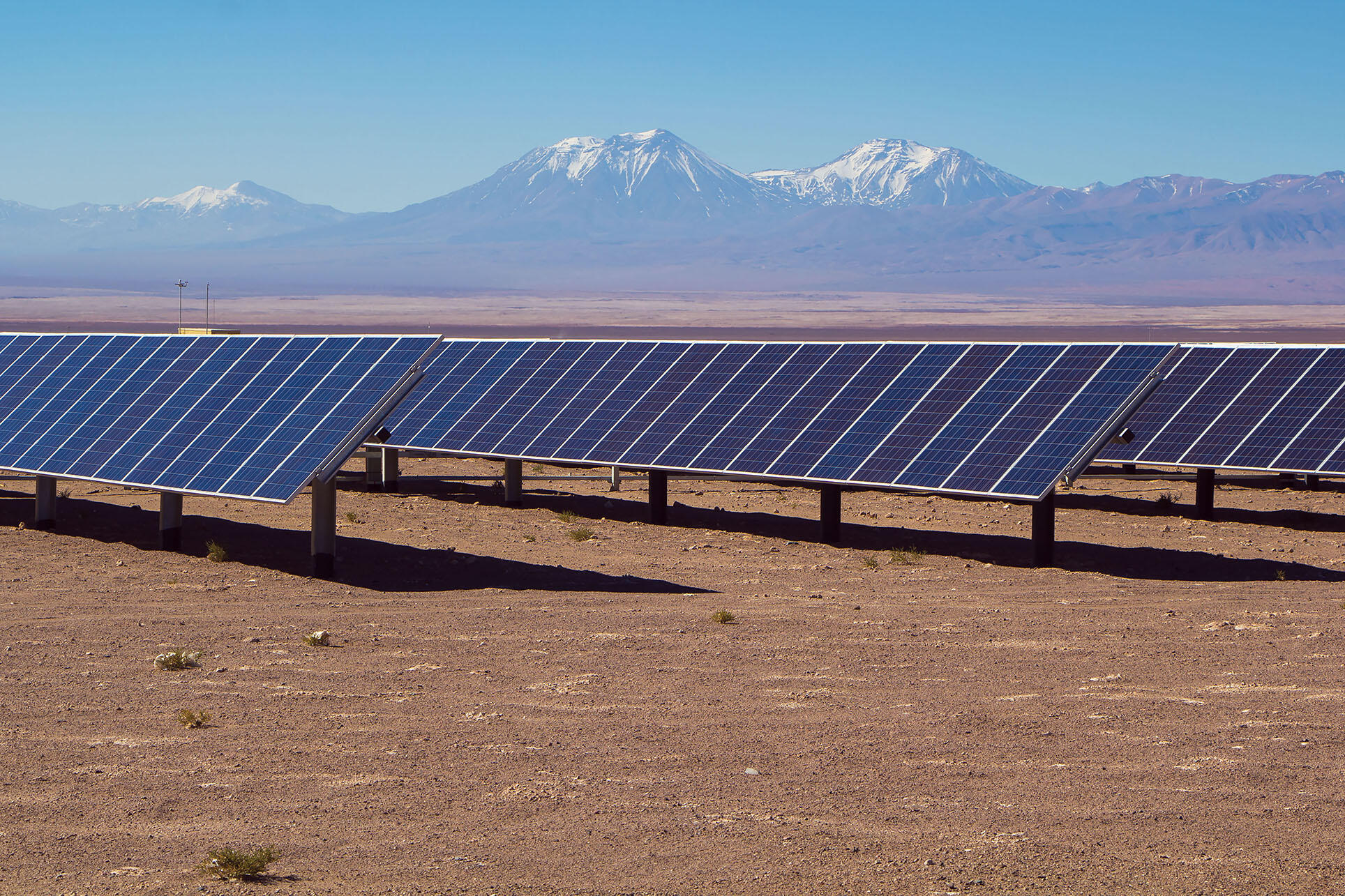 Solar panels in the Atacama Desert, Chile. (Photo by obscur/Shutterstock.com.)