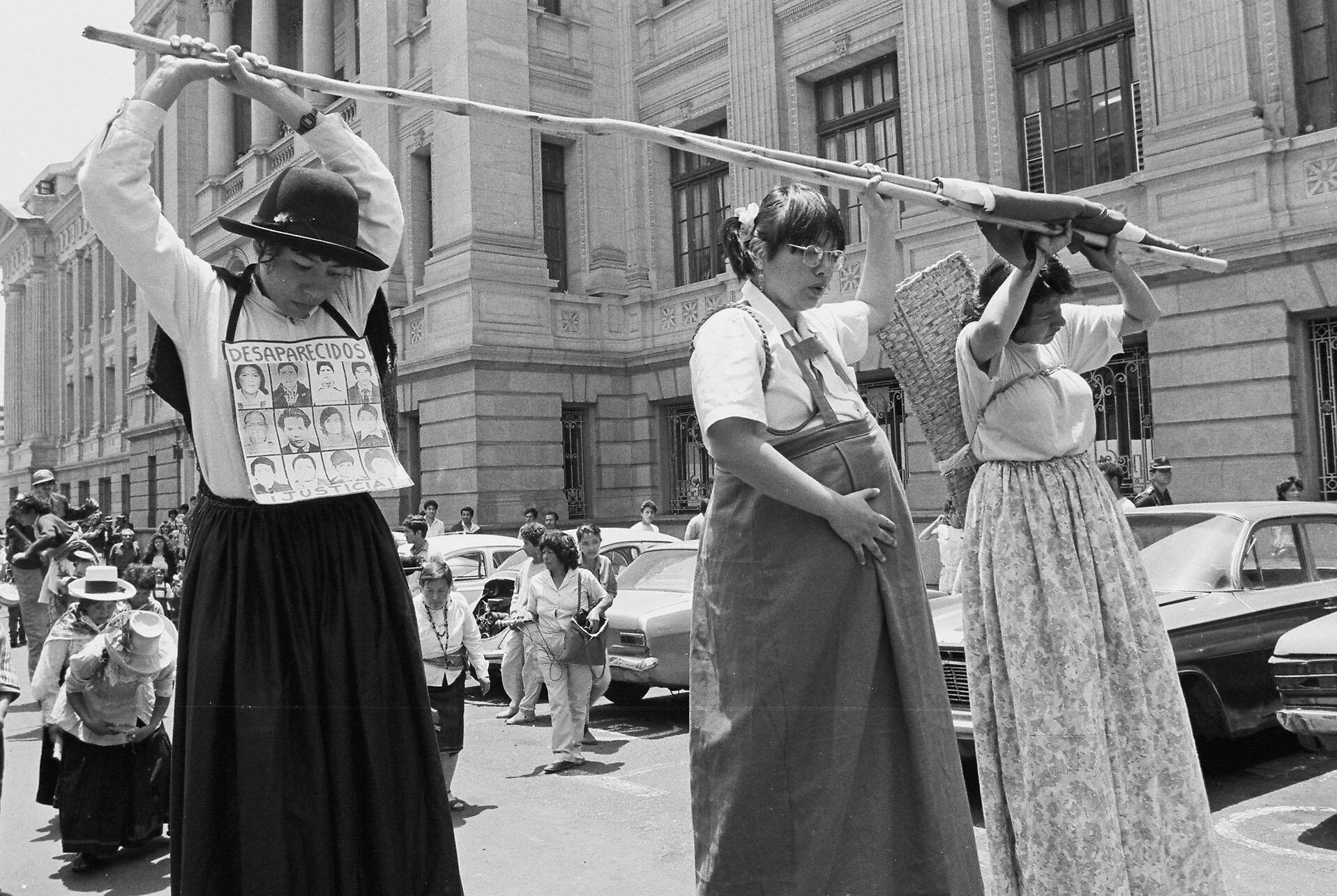 Women protesting disappearances and sexual violence by the military in Peru, 1988. (Photo by Silvia Beatriz Suárez Moncada.)