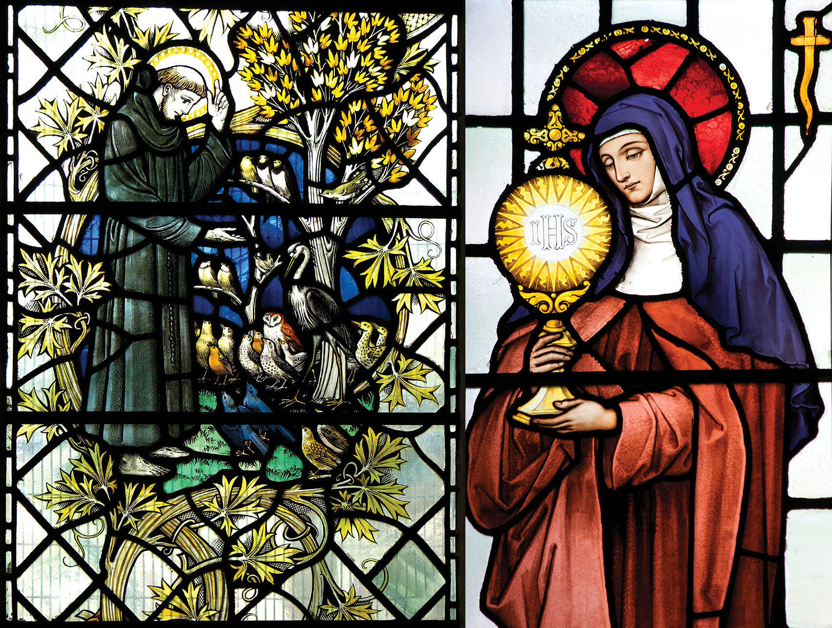 Stained glass windows- St. Francis preaches to the birds, Leicester Cathedral, England; and St. Clare, St. Frideswide's Church, Oxford. (Photos by Father Lawrence Lew, O.P.)