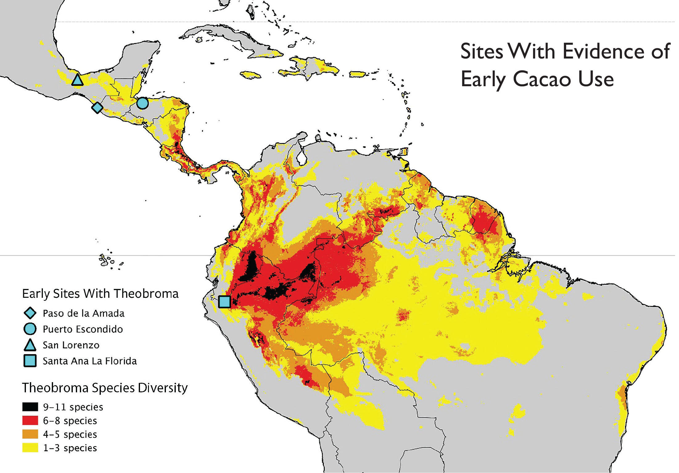 A map highlighting the range of Theobroma in the wild, as well as locations with evidence of early use in Latin America. (Image courtesy of Michael Blake.)