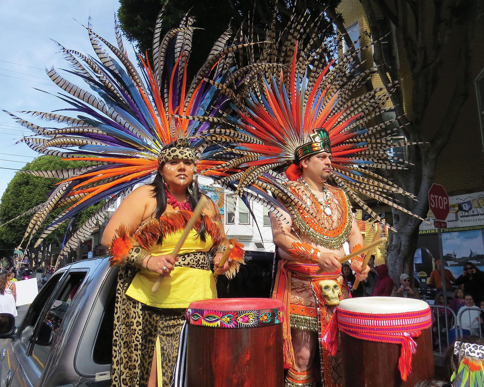 Members of Xiuhcoatl Danza Azteca in San Francisco at the annual Carnaval San Francisco. (Photo by Carnaval.com Studios.)