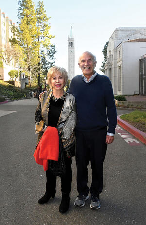 Harley Shaiken with Isabel Allende at UC Berkeley, February 2020. (Photo by Peg Skorpinski.)