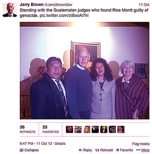 Governor Jerry Brown on meeting the Guatemalan judges. (Image courtesy of Jerry Brown.)