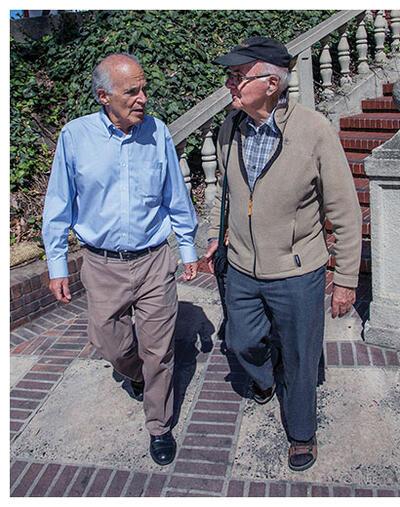 CLAS Chair Harley Shaiken walks across Berkeley with Ricardo Falla. (Photo by Jim Block.)