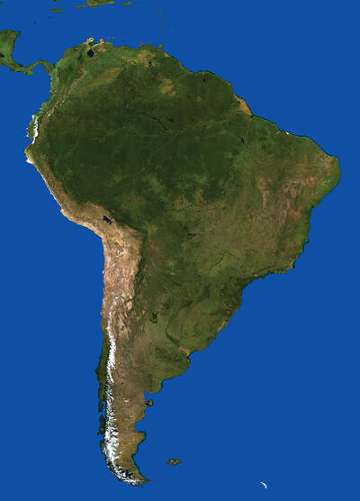 A satellite image of South America, showing the rugged and mountainous terrain. (Image from Wikimedia.)