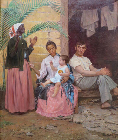 A Redenção de Cam (Redemption of Ham), an 1895 painting by Modesto Brocos, depicts a black grandmother, mulata mother, white father, and their quadroon child, as an allegory of blanqueamiento. (Image from Wikimedia.)