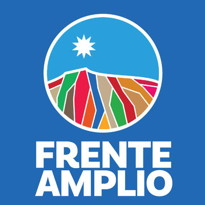 The logo of Chile's Frente Amplio, a star over colorful mountains. (Image from Wikimedia.)