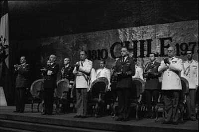 "Augusto Pinochet and his military junta celebrate the 1980 Constitution. (Photo by Kena Lorenzini/""© Colección Museo Histórico Nacional.""))"