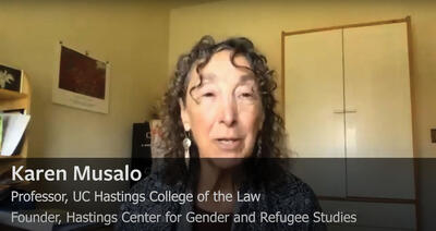 Karen Musalo discusses Covid-19 and immigration, May 2020. (Images by CLAS staff.)