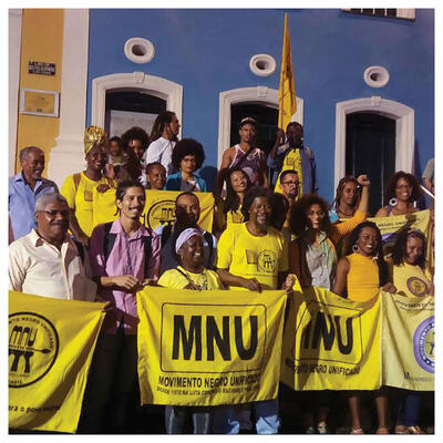 Members in yellow shirts at an MNU rally in Salvador da Bahia celebrating 40 years of the movement,July 2018. (Photo courtesy of MNU Salvador/@ermeval.)