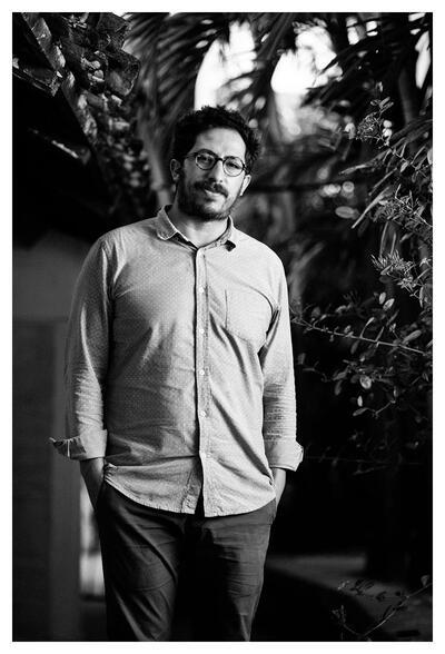 A black and white portrait of Diego Mondaca. (Photo by Alvaro Gumucio Li.)