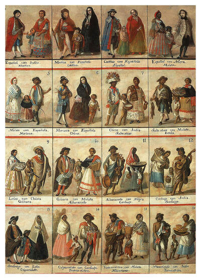 18th-century Casta painting of shows 16 different ambiguous racial classifications as small images in New Spain (present-day Mexico). (Image courtesy of Museo Nacional del Virreinato, Tepotzotlán, Mexico.)